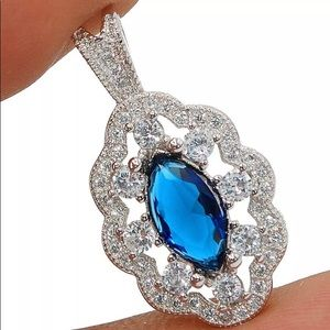 Handcrafted Blue Sapphire & Topaz SS Necklace